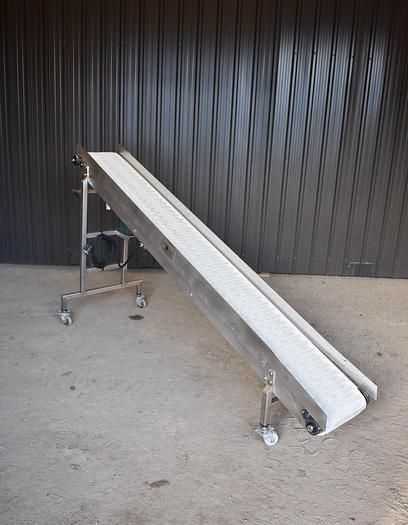 Used USED STAINLESS STEEL INCLINE BELT CONVEYOR, 13'' WIDE X 108'' LONG