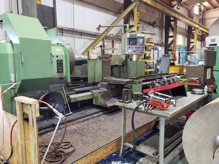 "Used 1984 Dianichi CNC Lathe, Model M112/M152, 58"" Swing, 236"" B/C, 500 rpm, 50 hp, Fanuc CNC"