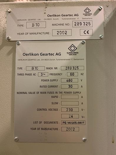2002 OERLIKON B10 CNC TOOL & CUTTER GRINDER