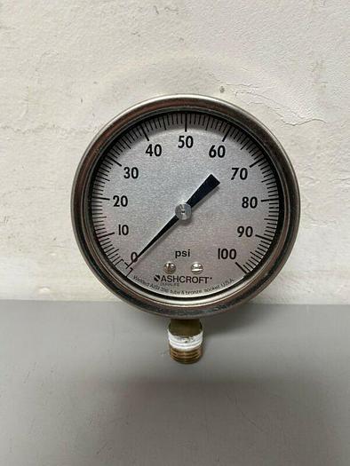 Used Ashcroft Duralife 0-100 PSI Pressure Gauge w/ Tube Socket