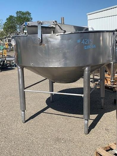 Used Chester Jensen 200 Gallon Stainless Steel Conical Bottom Kettle M70N200