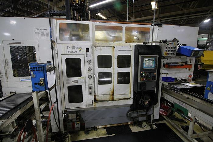 Used FUJI ANS-320TTS TWIN TURRET CNC LATHE WITH ROBOT LOAD/UNLOAD AND STOCKER TABLES