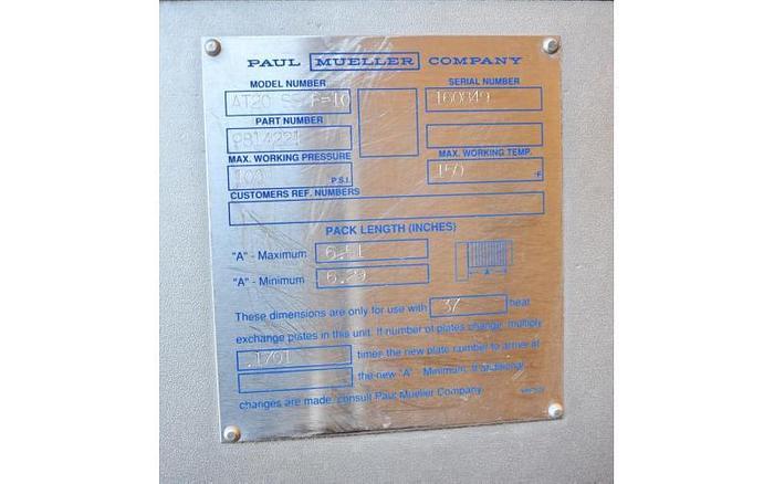 USED MUELLER SANITARY PLATE HEAT EXCHANGER, 136 SQ.FT.