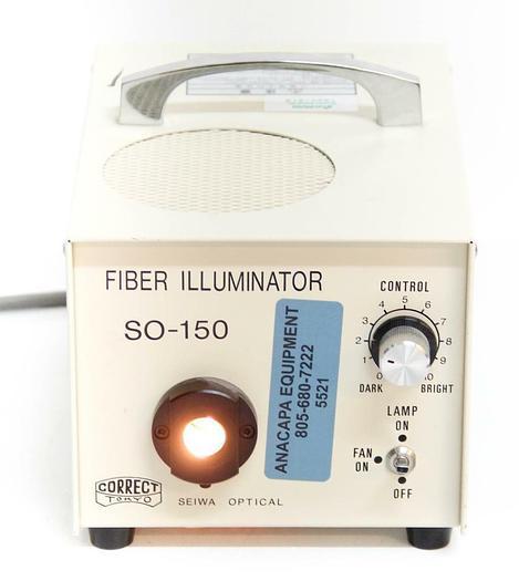 Used Seiwa Optical Fiber Microscope Illuminator SO-150, Manual 0-10 Dial Control 5521