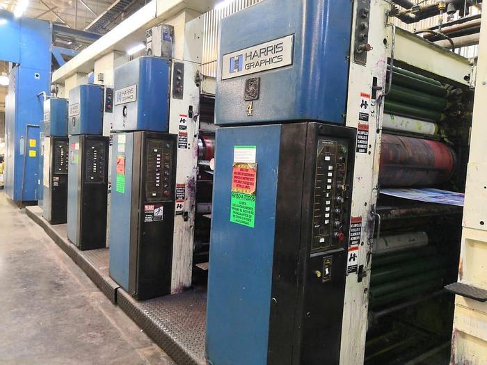 "Used 1989 Harris M1000B (4) Unit (1) Web Press System 578mm / 22.75"" cutoff"