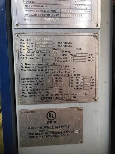 2009 Muira LX-300   10350 lb/hr  170 psi  Fuel: gas LX-300