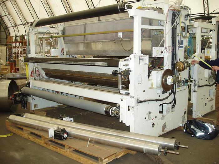 "Used 105"" (2.67M) PCMC LAMINATOR COMBINER TO COMBINE 2 WEBS OF TOILET TISSUE"