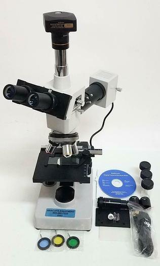 Used OKA Metallurgical Metallographic Microscope XJP-H109 w/ AmScope MU300 (6443)