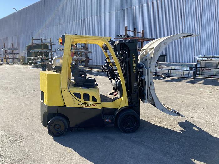 "Used 8,000 POUND HYSTER MODEL S80FTBCS MFG. 2013 85"" LOWERED MAST"
