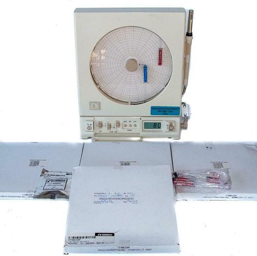 Used Omega Chart Recorder CT485B-110V, w/ New CT-485 Circular Charts & Pens (7622