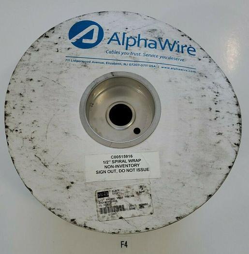 """*NEW* Alpha Wire SW43 100ft Black 1/2"""" Spiral Wrap Tubing Polyethylene UL UZKX"""