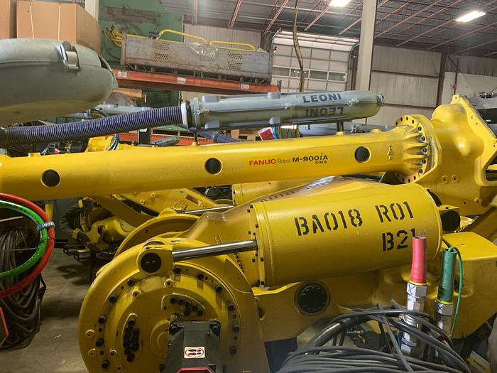 Used FANUC ROBOT LIQUIDATION SALE M900iA/400L 6 AXIS CNC ROBOT WITH R30iA CONTROLLER (22) UNITS FOR SALE 400KG X 3625mm HIGH REACH