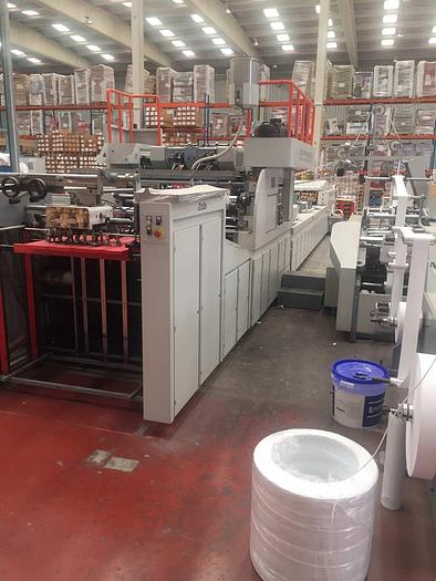 Used 2017 JIANGSU FANGBANG MACHINERY ZD-QFP14C - Sheet fed square bottom paper bag makingmachine with twisted handles unit