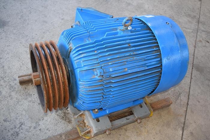 Used 100hp tefc electric motor, used 100 hp 1800rpm 460 volt reliance motor, Reliance torque master frame size 100hp frame 405T electric motor