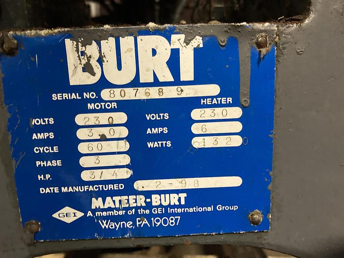 Used Burt AU-611 Roll thru labeler set for 401 cans