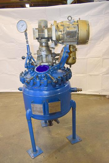 Refurbished Pfaudler 20 gallon glass lined reactor,  Pfaudler batch reactor, re-glassed reactor,  20 gallon
