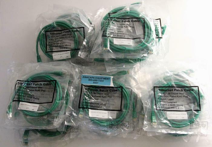 Used Ethernet Patch Cable Cat.6 UTP Booted 550MHz 4FT, 7FT New Lot of 49 (8007)W