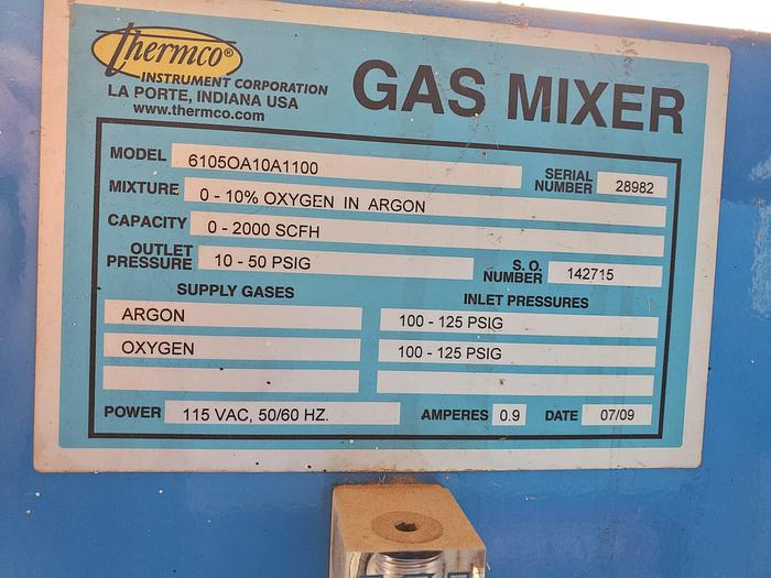 Used Thermco 6105 Oxygen Argon Gas Mixer