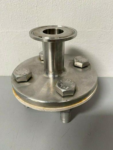 """Used Stainless Steel End Cap Reducer 1"""" Sanitary Fitting to 4 1/4"""" End"""