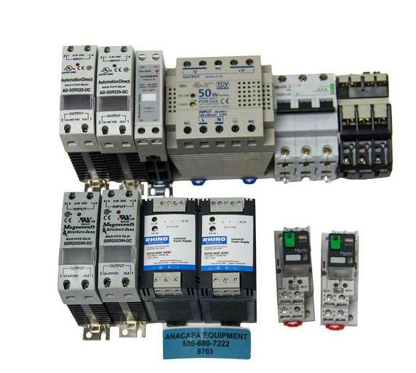 Used Magnecraft, CarloGavazzi, AutomationDirect, Relays & PowerSupply Lot of 12(8703)