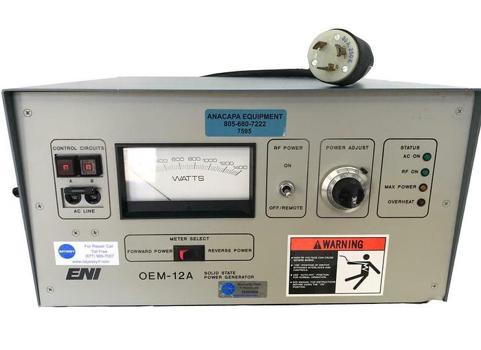 Used ENI OEM-12A-21041-51 Solid State RF Power Generator Repaired & Tested (7595) W