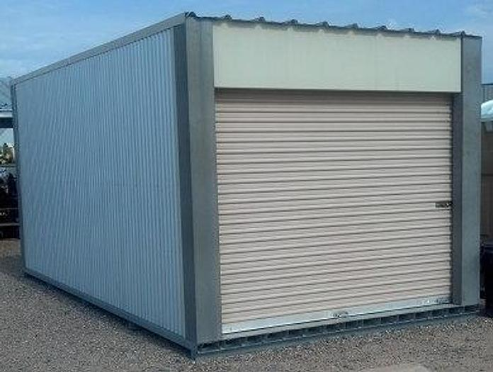 Used 10 ft x 20 ft  Janus International Portable Storage Building/Shed; (2) 9 ft x 9 ft roll-up end doors