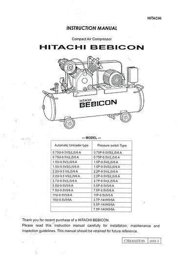 Used Manual for Used Hitachi Bebicon Compressor Instruction Manual