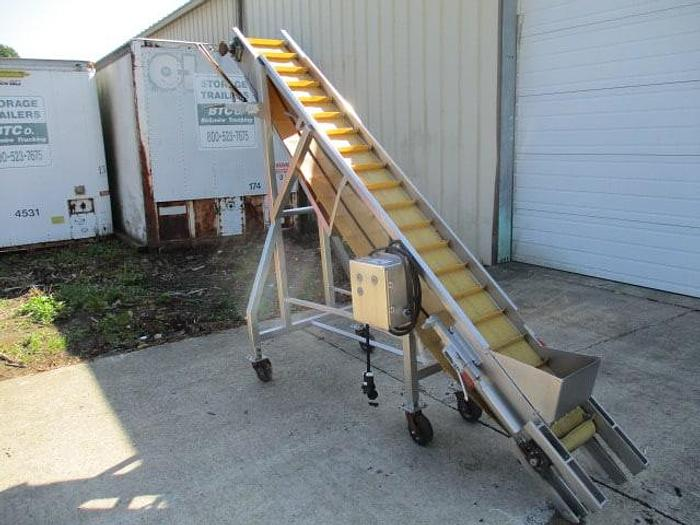 """Used Incline Conveyor; Cleated Rubber Belt; 12""""Wx10'L"""