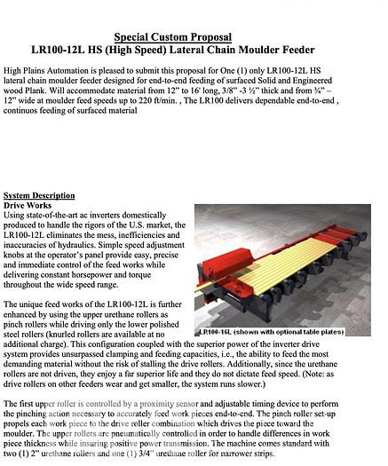 HIGH PLAINS AUTOMAT HIGH SPEED CHAIN FEEDER