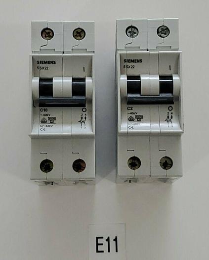 *NEW* MIXED LOT OF 2 Siemens (1) 5SX22 C10 & (1) 5SX22 C2 400V Circuit Breakers