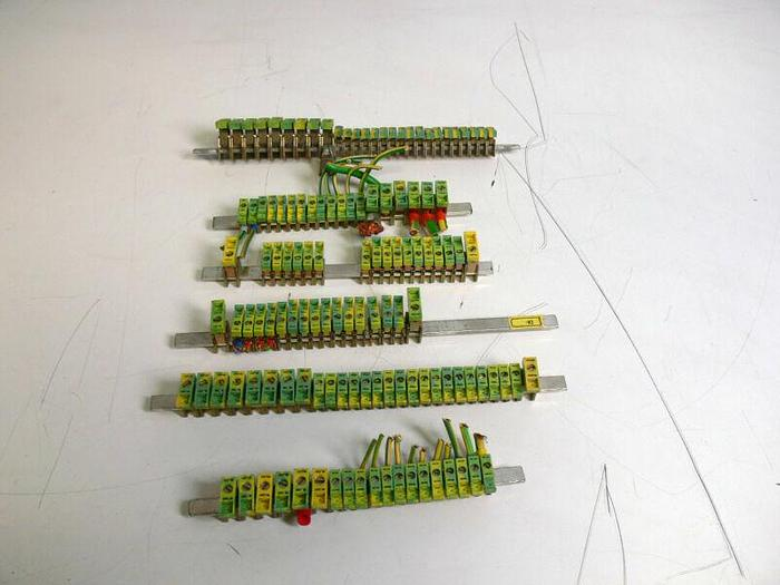 Used Lot of 127 Kema Keur Terminal Blocks- AKG 4 (x93) & AKG 16 (x34) on 6 Rails