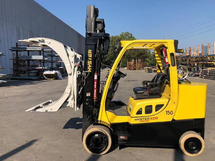 """Used 12,000 POUND HYSTER ROLL CLAMP TRUCK MODEL S120FTPRS W/ 60"""" CLAMP MFG. 2013"""