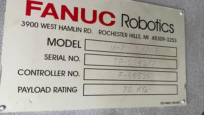 "FANUC M710iC/70T GANTRY ROBOTIC SYSTEM, R30iA, 8' TALL RAIL X 11'6"" OF TRAVEL"