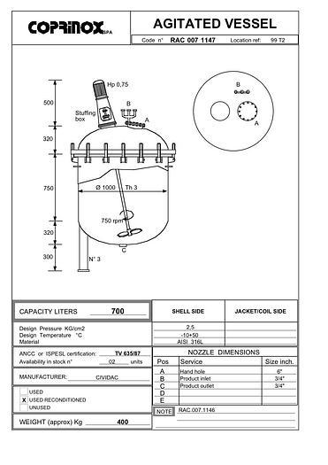 Usata Reattore / miscelatore CIVIDAC da 700 Litri