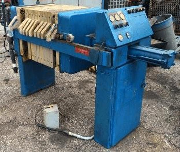 Used 3 CU. FT. JWI FILTER PRESS – POLYPRO – 630 MM – C.G.R. –  AUTOMATIC CLOSURE