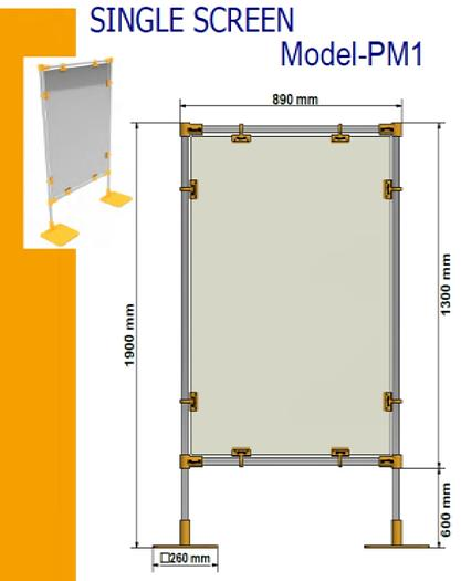 Covid-19 PM-1 Free Standing Protection Screens