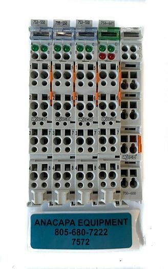 Used Wago 753-550 Analog Output, 753-461 Analog Input, 750-600 End Module (7572)
