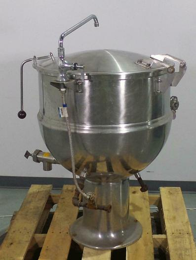Used 2009 GROEN PT-40, 40 GAL. STATIONARY DIRECT STEAM KETTLE w/ COVER & T&S STYLE WATER FILL FAUCET ASSEMBLY, (#732). PT-40