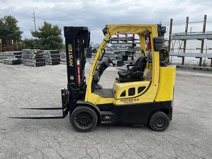 """Used 8,000 POUND HYSTER MODEL S80FTBCS MFG. 2013 173"""" RAISED MAST WITH FORKS"""