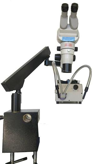 Used Scienscope CMO-BHE Microscope w/ SB-FX-01 Articulating Arm, Light Source (7549)R