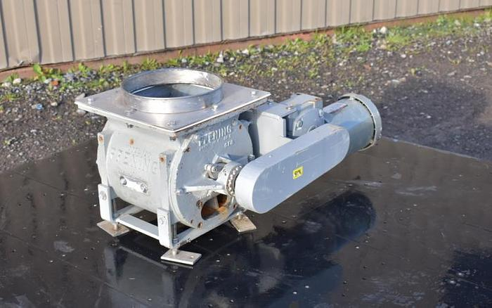 USED ROTARY AIR LOCK VALVE, SIZE: 10'' X 4'' BLOW-THROUGH, CAST IRON, PFENING