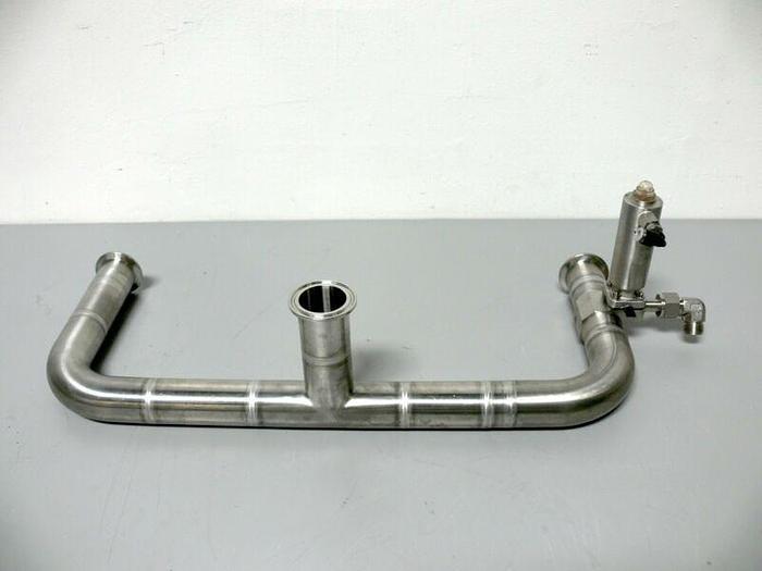 "Used Lot of 2 SED 1.5"" x .50"" Diaphragm Valves on 2"" Steel Tubing & Sanitary Fittings"