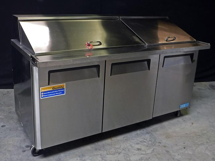 Used USED TURBO-AIR 3-DOOR REFRIGERATED SANDWICH PREP TABLE, MODEL MST-72-30