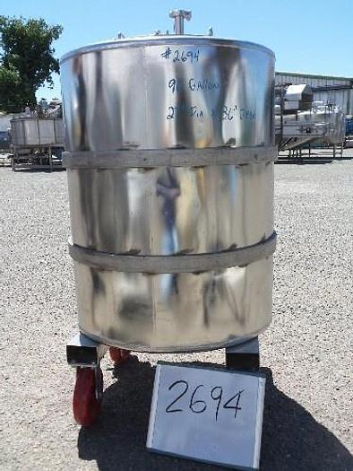 90 Gallon Portable Vertical Stainless Steel Tank #2694