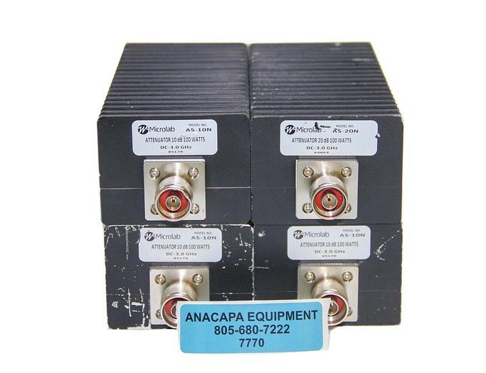 Used Microlab AS-10N,AS-20N Attentuator 10 dB 100Watts N Connector NIB Lot of4(7770)W