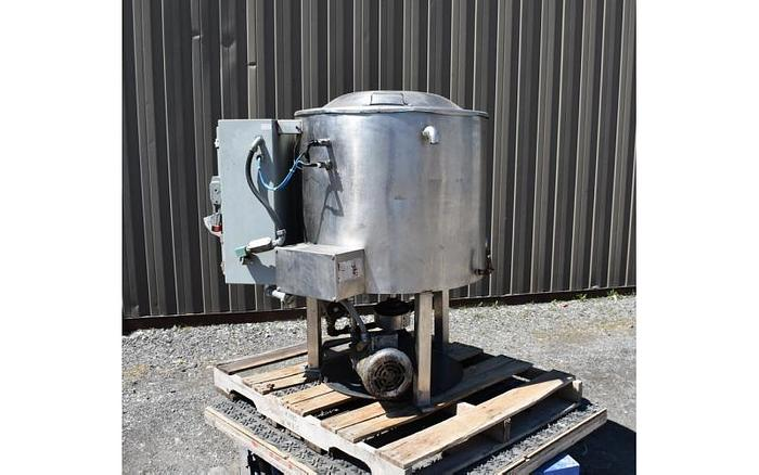 USED 50 GALLON JACKETED TANK, STAINLESS STEEL, WITH SCRAPE AGITATION & ELECTRICALLY HEATED JACKET