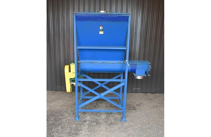 "USED SCREW CONVEYOR, 9"" DIAMETER X 72'' LONG, CARBON STEEL WITH FEED HOPPER"