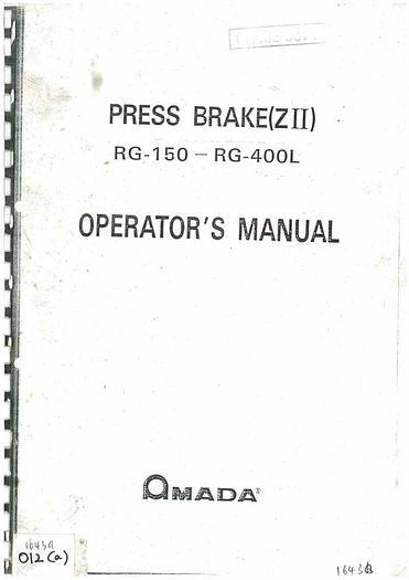 Used Manual for Amada Press Brake (ZII) RG 150 – RG 400L
