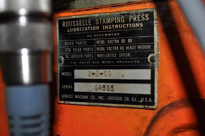 """Used 60 TON ROUSSELLE DOUBLE CRANK GAP FRAME PRESS, 4"""" STROKE, 60"""" x 18"""" BED"""