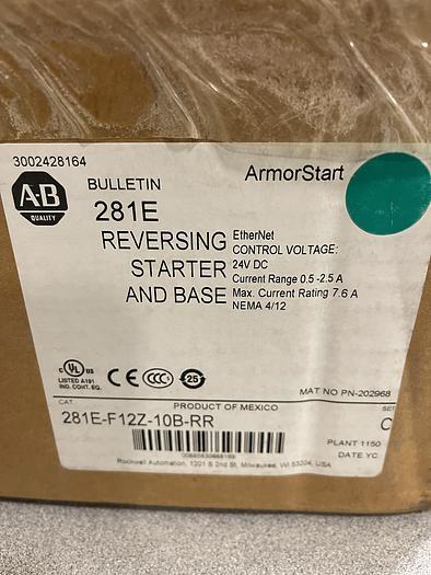 ALLEN BRADLEY 281E-F12Z-10B-RR REVERSING STARTER AND BASE